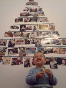 photos and washi tape christmas tree on the walll